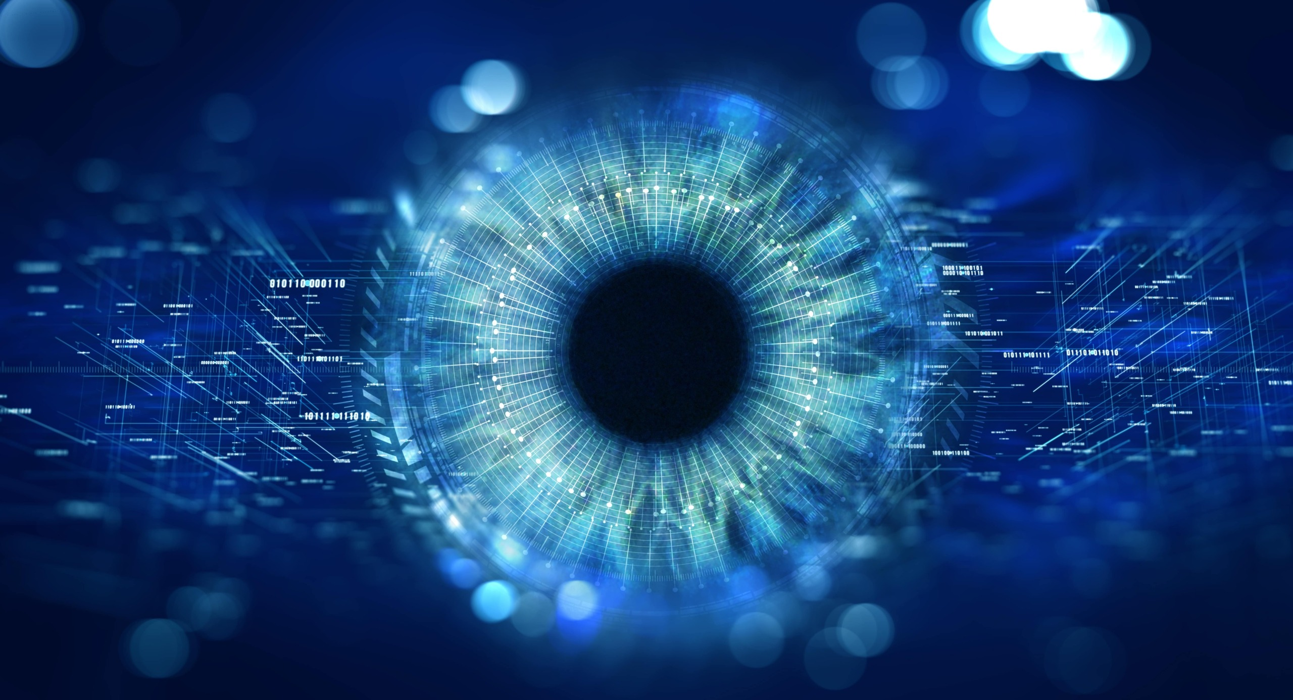 eye with technology, AI and OCR